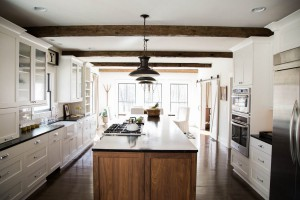 Reclaimed Wood Beam Ceiling of Kitchen.